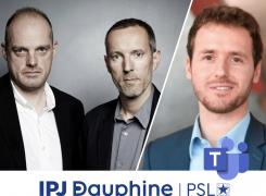 Fabrice Lhomme, Gérard Davet et Tristan Waleckx à la rencontre des étudiant·e·s d'IPJ